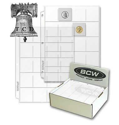 Box 100 BCW PRO 20-POCKET PAGES FOR 2x2 CARDBOARD FLIPS SLIDES POGS COINS COUPON