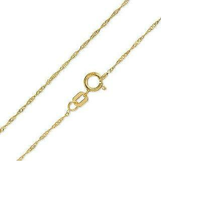 solid 10K yellow gold rope chain necklace 1mm