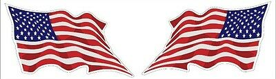 Set Of 2 Waving Lh & Rh American Flags USA Decal Stickers 3x5 Free Shipping