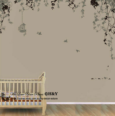Bird Cage Vine Wall Stickers Wall Decal Removable Kids Art Nursery Decor Deco AU
