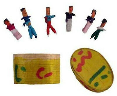 Six (6) Guatemalan WORRY DOLLS in Box with Description