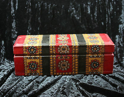 Wood Trinket Box Burn Art Carved Wood Stained Colorful Vintage Antique Casket