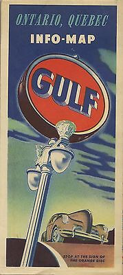 1950 GULF OIL Road Map ONTARIO QUEBEC Montreal Canada Sault Ste. Marie Ferry