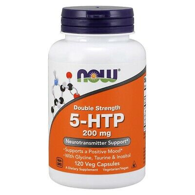 NOW Double Strength 5-HTP 200 mg 120 VCaps,Supports Positive Mood,FRESH USA MADE