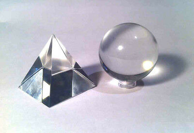 Beautiful Glass Pyramid and Crystal Ball Sphere Set - 50mm Pyramid  50mm CB