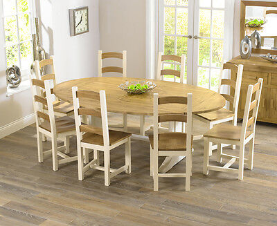 Farmhouse solid oak cream oval extending dining table and 8 Marino chairs set