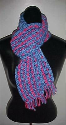 Hand Crochet Scarf #148 Blue/Pink 62 x 5 w/Fringe NEW