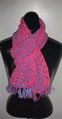 Hand Crochet Scarf #149 Pink/Blue 62 x 5 w/Fringe NEW