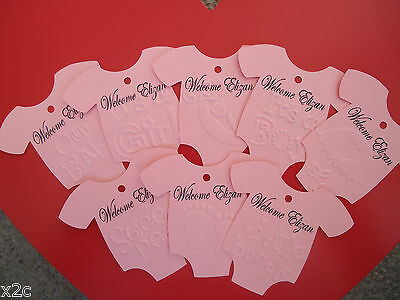 10 Gift Swing Tags Embossed Personalised Bomboniere Christening Baby