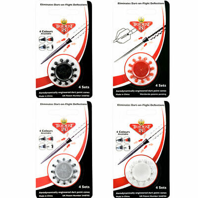 TRIDENT 180 DART POINT NOSE CONES - Reduces Deflections - Winmau - 1 Ring of 12