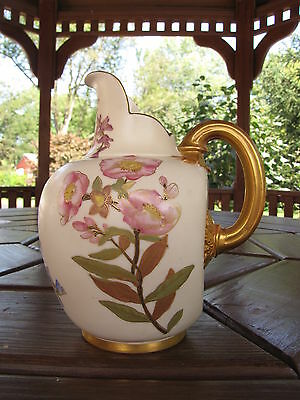 """Antique Royal Worcester Hand Painted Pitcher Jag #1094  7 1/4"""" Tall Marked Rare!"""