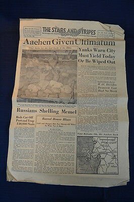 1944 THE STARS AND STRIPES Newspaper Oct. 11 Aachen Ultimatum