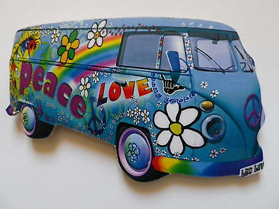 Funky Love & Peace Blue Vw Camper Van Jumbo Size Fridge Magnet.new