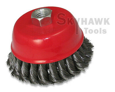 "New 4"" x 5/8"" Knot-Type Fine Wire Cup Brush Fits 4-1/2"" Angle Grinder"