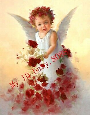 Handicraft Repro oil painting : little angel girl with flowers #9498