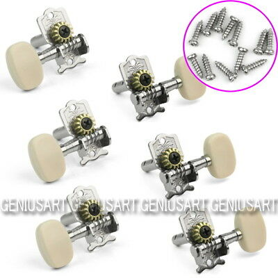 6pcs Classical Guitar String Tuning Pegs Tuners silvery Machine Heads Keys ae3d