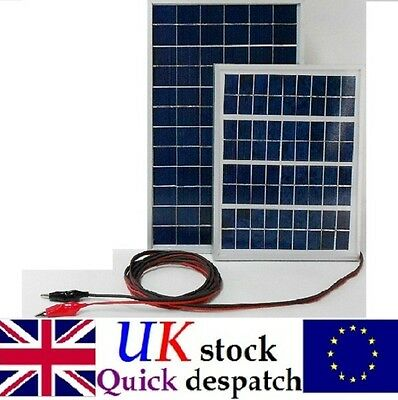 10w 15w Solar Panel 12v Battery Charger 4m Cable & Block Diode & Alligator Clips