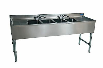 """Stainless Steel 96"""" Underbar Bar Sink Four (4) Compartment with Two Drainboards"""