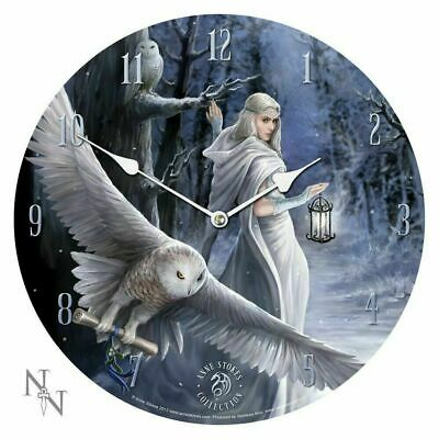 Wall Clock By Designer Anne Stokes White Witch Fairy With Night Messenger Owl