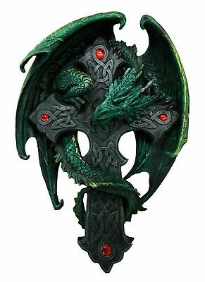 "10""H Anne Stokes Spirit Dragon on Celtic Cross Crucifix with Red Gem Wall Plaque"