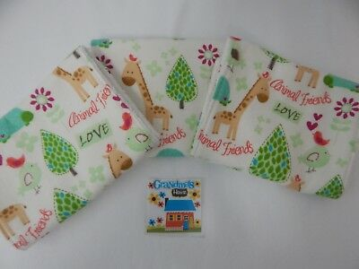 Burp Cloths Giraffes and Friends Set of 3 Toweling Backed GREAT GIFT IDEA!!