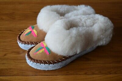 Womens Girls Ladies Natural Leather Sheepskin Slippers Moccasins All Size