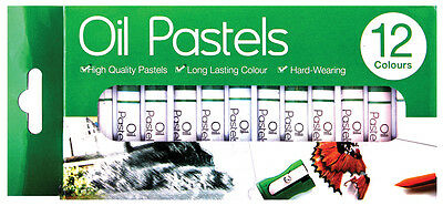 Oil Pastels Crayons Sticks 12pc Colour Set Art Painting Drawing Sketching Kids63