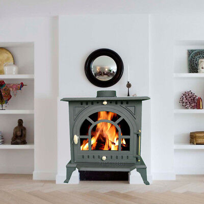 9KW JA005 High Efficient Cast Iron Log Burner Multifuel Woodburning Stove New