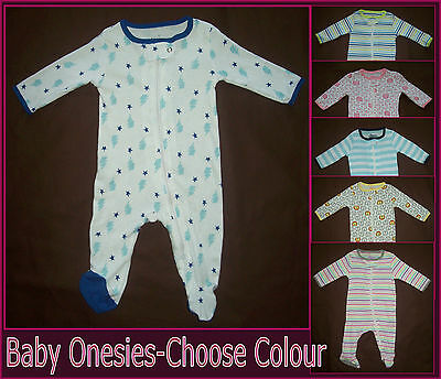 1x BABY COTTON BodySuit  0 3 6 9 mths- Zip up CUTE One-Piece ROMPER Coverall New