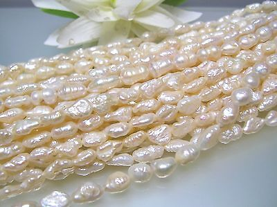 Rare vintage 5.5x10 mm large irregular Japan freshwater rice pearl loose strands