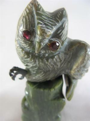 Antique Chinese Spinach Jade Carving Of An Owl