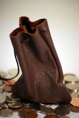 Medieval/Reenactment RICH CHOCOLATE BROWN LEATHER DRAWSTRING MONEY POUCH/BAG