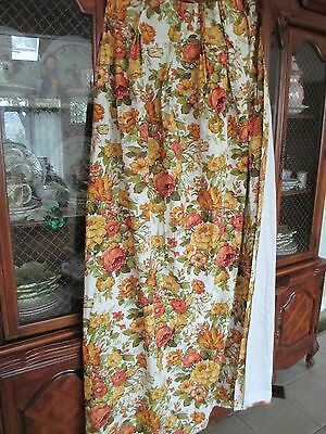 "DRAPES  DARK ORANGE FLORAL NEW  63"" LENGTH X 60"" W"
