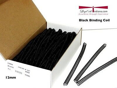 Plastic Coil Binding Supply Black 12mm (4:1 Pitch) (Coil Binding 4:1)