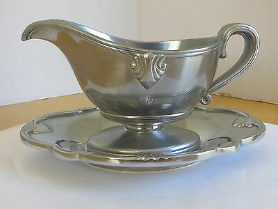 Pewter Gravy / Sauce Boat & Underplate by Lenox Circa 1970's  8 oz