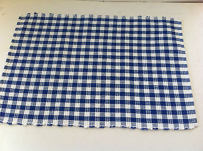 Blue & White Gingham Check 100% Cotton Rib Placemat - 33 x 48cm