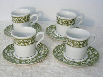 Set of 4 J & G Meakin Staffordshire RENAISSANCE GREEN Cups & Saucers Very Nice!
