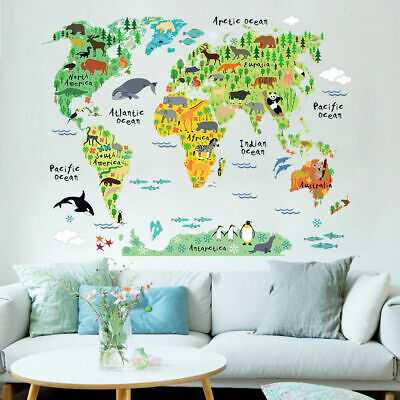 Animal World Map Wall Art Stickers Nursery Kids Decor Removable Vinyl Decal Gift