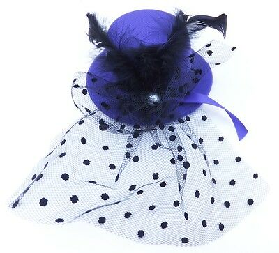 Netted Mini-Hat Fascinator With Veil And Pearl Detail Clip Fastening