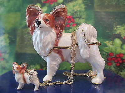 PIPPY  the PAPILLON  ~JEWELED TRINKET BOX & MATCHING NECKLACE #62536