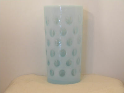 Fenton Blue Opalescent Coin Dot Water Glass Tumbler over 5 inches high (1787)