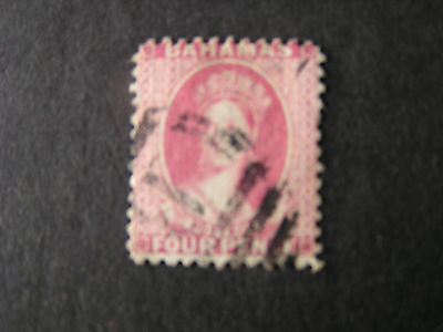 BAHAMAS, SCOTT # 25, 4p. VALUE ROSE PERF. 12, 1882-98 QV ISSUE. USED