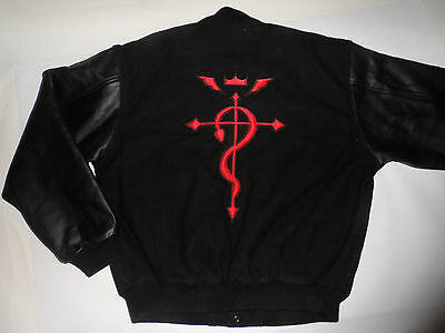 Genuine Fullmetal Alchemist Embroidered Varsity Jacket! Wool! Leather Sleeves! L