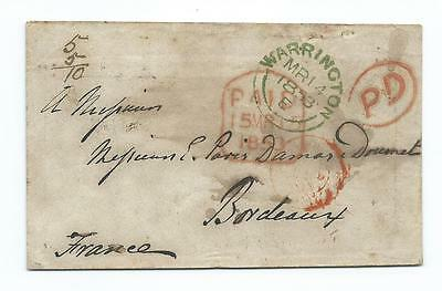 Warrington To Bordeaux Stampless Cover -  Green Postmark - 1853