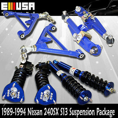 For Nissan 240SX S13 Coilover Suspension Kits +Front and Rear Lower Control Arms