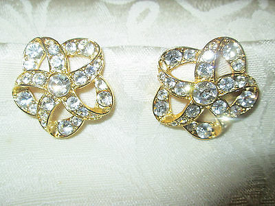 Monet Vintage Costume Diamond Clip Earrings  Preowned