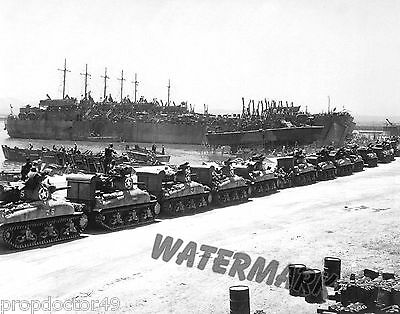 Photograph WWII Normandy Invasion US Navy LST Landing Ships & Tanks 1944c  8x10