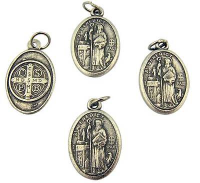 """MRT Lot Of 4 St Benedict Holy Saint Medal Silver Plate Pendant Gift 3/4"""" Italy"""
