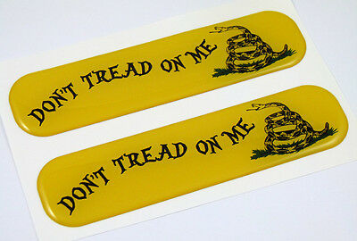 "Don't Tread on Me Flag Domed Decal Emblem Flexible Sticker 5"" Set of 2 Gadsden"