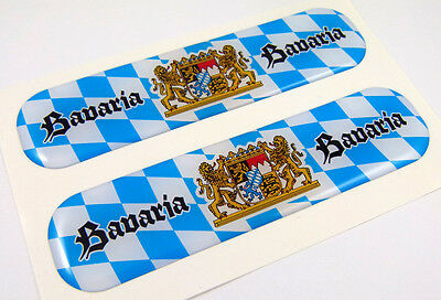 "Bavaria Germany Flag Domed Decal Emblem Flexible Sticker 5"" Set of 2"